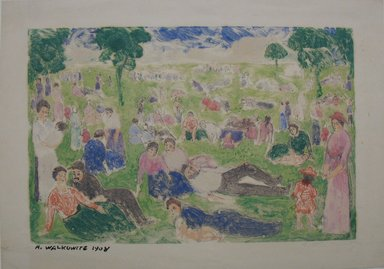 Abraham Walkowitz (American, born Russia, 1878-1965). <em>Figures in a Park</em>. Monotype, Sheet: 7 7/16 x 10 11/16 in. (18.9 x 27.1 cm). Brooklyn Museum, Gift of the artist, 39.641 (Photo: Brooklyn Museum, CUR.39.641.jpg)