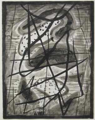 Abraham Walkowitz (American, born Russia, 1878-1965). <em>Abstraction with Circular Forms</em>, n.d. Brush and black watercolor on paper, Sheet: 6 13/16 x 5 1/4 in. (17.3 x 13.3 cm). Brooklyn Museum, Gift of the artist, 39.652 (Photo: Brooklyn Museum, CUR.39.652.jpg)