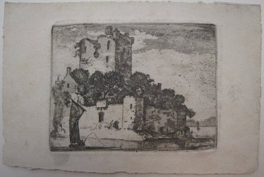 John Clerk of Eldin (British, 1728-1812). <em>Castle on Lake</em>, n.d. Etching and aquatint on laid paper, 3 x 4 in. (7.6 x 10.1 cm). Brooklyn Museum, Gift of James K. Callaghan, 39.73 (Photo: Brooklyn Museum, CUR.39.73.jpg)