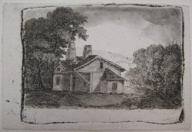 John Clerk of Eldin (British, 1728-1812). <em>Adam's Hut</em>. Etching and aquatint on laid paper, 2 3/4 x 3 13/16 in. (7 x 9.7 cm). Brooklyn Museum, Gift of James K. Callaghan, 39.77 (Photo: Brooklyn Museum, CUR.39.77.jpg)