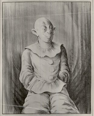 Russell T. Limbach (American, 1904-1971). <em>Clown</em>, 1938. Lithograph from one stone (blue) on wove paper, 17 15/16 x 13 15/16 in. (45.6 x 35.4 cm). Brooklyn Museum, Dick S. Ramsay Fund, 39.8.2 (Photo: Brooklyn Museum, CUR.39.8.2.jpg)