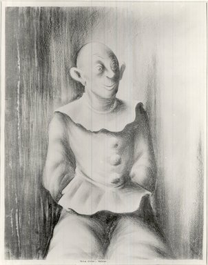 Russell T. Limbach (American, 1904-1971). <em>Clown</em>, 1938. Lithograph from one stone (beige) on wove paper, 17 15/16 x 13 15/16 in. (45.6 x 35.4 cm). Brooklyn Museum, Dick S. Ramsay Fund, 39.8.3 (Photo: Brooklyn Museum, CUR.39.8.3.jpg)