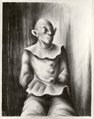 Russell T. Limbach (American, 1904-1971). <em>Clown</em>, 1938. Lithograph, beige stone printed in black on wove paper, 17 15/16 x 13 15/16 in. (45.6 x 35.4 cm). Brooklyn Museum, Dick S. Ramsay Fund, 39.8.4 (Photo: Brooklyn Museum, CUR.39.8.4.jpg)