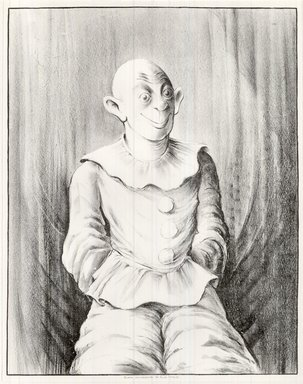 Russell T. Limbach (American, 1904-1971). <em>Clown</em>, 1938. Lithograph, blue stone printed in black on wove paper, 17 15/16 x 13 15/16 in. (45.6 x 35.4 cm). Brooklyn Museum, Dick S. Ramsay Fund, 39.8.6 (Photo: Brooklyn Museum, CUR.39.8.6.jpg)