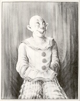 Russell T. Limbach (American, 1904-1971). <em>Clown</em>, 1938. Lithograph impression of blue stone over red stone on wove paper, 45 5/8 x 35 3/8 in. (115.8 x 89.9 cm). Brooklyn Museum, Dick S. Ramsay Fund, 39.8.7 (Photo: Brooklyn Museum, CUR.39.8.7.jpg)