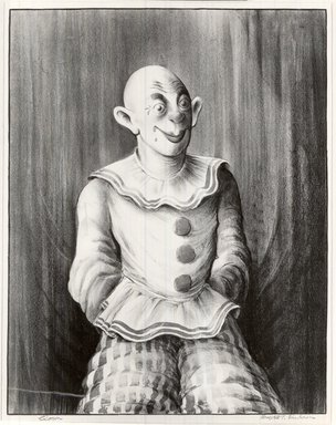 Russell T. Limbach (American, 1904-1971). <em>Clown</em>, 1938. Lithograph printed from three stones; blue, red, and beige on wove paper, 45 5/8 x 35 3/8 in. (115.8 x 89.9 cm). Brooklyn Museum, Dick S. Ramsay Fund, 39.8.8 (Photo: Brooklyn Museum, CUR.39.8.8.jpg)