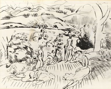 Rudolf Grossman (German, 1882-1941). <em>Landscape with Figures</em>. Drypoint on zinc on Japanese paper, 12 3/8 x 14 9/16 in. (31.5 x 37 cm). Brooklyn Museum, By exchange, 39.82 (Photo: Brooklyn Museum, CUR.39.82.jpg)