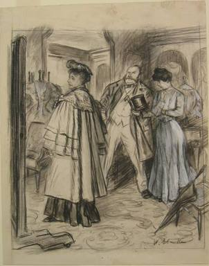 "William Glackens (American, 1870-1938). <em>""'My dear,' he instructed her patiently under the girl's approving eyes, 'you will find it always pays to get the best',""</em> 1906. Black conte crayon, watercolor, opaque watercolor, and graphite on cream, moderately thick, smooth wove paper, Sheet: 15 3/8 x 12 3/16 in. (39.1 x 31 cm). Brooklyn Museum, Dick S. Ramsay Fund, 40.55 (Photo: Brooklyn Museum, CUR.40.55.jpg)"