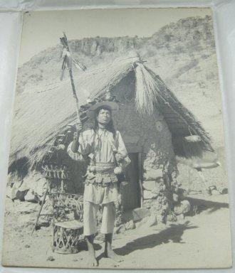 Huichol (Wixárika). <em>Huichol Singing Shaman</em>. Photograph, mounted on cardboard, 13 3/8 x 10 7/16 in. (34 x 26.5 cm). Brooklyn Museum, 40.756 (Photo: Brooklyn Museum, CUR.40.756.jpg)