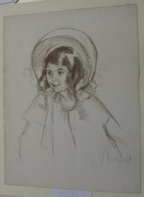 Mary Cassatt (American, 1844-1926). <em>Young Girl with Bonnet</em>, ca. 1904. Lithograph in bistre on laid paper, 58 x 19 in. (147.3 x 48.3 cm). Brooklyn Museum, Dick S. Ramsay Fund, 40.886 (Photo: Brooklyn Museum, CUR.40.886.jpg)