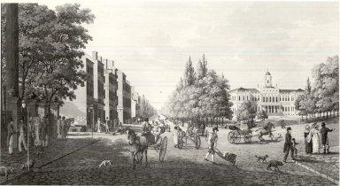Carl Fredrick Akrell (Swedish, 1779-1868). <em>Broadway gatan och Radhuset i New York 1819 after Klinckowstrom</em>, n.d. Aquatint, etching; printed in ink on wove paper, 8 1/16 x 15 1/16 in. (20.4 x 38.2 cm). Brooklyn Museum, Gift of Harold K. Hochschild, 41.1109 (Photo: Brooklyn Museum, CUR.41.1109.jpg)