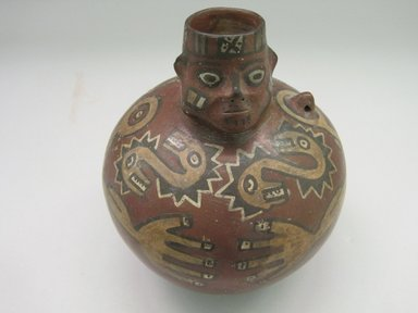 Wari. <em>Face Neck Jar</em>, 550-850. Ceramic, pigment, 8 3/16 x 7 x 7 in. (20.8 x 17.8 x 17.8 cm). Brooklyn Museum, Museum Expedition 1941, Frank L. Babbott Fund, 41.1275.62. Creative Commons-BY (Photo: Brooklyn Museum, CUR.41.1275.62_overall.jpg)