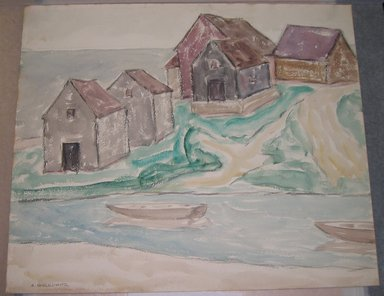Abraham Walkowitz (American, born Russia, 1878-1965). <em>Fishermen's Houses</em>. Watercolor, black crayon on paper, 15 3/8 x 18 3/8 in. (39.1 x 46.7 cm). Brooklyn Museum, Gift of the artist, 41.158 (Photo: Brooklyn Museum, CUR.41.158.jpg)