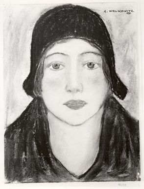 Abraham Walkowitz (American, born Russia, 1878-1965). <em>Woman's Head # 6</em>, 1928. Pastel, pen, ink on paper, 12 13/16 x 9 5/8 in. (32.5 x 24.4 cm). Brooklyn Museum, Gift of the artist, 41.159 (Photo: Brooklyn Museum, CUR.41.159.jpg)