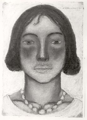 Abraham Walkowitz (American, born Russia, 1878-1965). <em>Woman's Head #8</em>, 1927. Pastel on dark gray paper, 13 1/16 x 9 in. (33.2 x 22.9 cm). Brooklyn Museum, Gift of the artist, 41.161 (Photo: Brooklyn Museum, CUR.41.161.jpg)