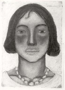Abraham Walkowitz (American, born Russia, 1878-1965). <em>Woman's Head #8</em>, 1927. Pastel on dark gray paper, 13 1/16 x 9 in. (33.2 x 22.9 cm). Brooklyn Museum, Gift of the artist, 41.161 (Photo: Brooklyn Museum, CUR.41.161.jpg)