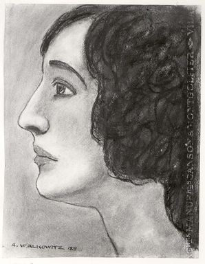 Abraham Walkowitz (American, born Russia, 1878-1965). <em>Woman's Head #10</em>, 1928. Pastel on light blue paper, 12 7/16 x 9 9/16 in. (31.6 x 24.3 cm). Brooklyn Museum, Gift of the artist, 41.163 (Photo: Brooklyn Museum, CUR.41.163.jpg)