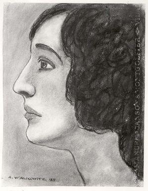 Abraham Walkowitz (American, born Russia, 1878-1965). <em>Woman's Head #10</em>, 1928. Pastel on light blue paper, 12 7/16 x 9 9/16 in. (31.6 x 24.3 cm). Brooklyn Museum, Gift of the artist, 41.163 (Photo: Brooklyn Museum, CUR.41.163.jpg)