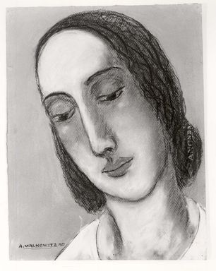 Abraham Walkowitz (American, born Russia, 1878-1965). <em>Woman's Head #5</em>, 1927. Pastel on gray paper, 12 3/8 x 9 1/2 in. (31.4 x 24.1 cm). Brooklyn Museum, Gift of the artist, 41.168 (Photo: Brooklyn Museum, CUR.41.168.jpg)
