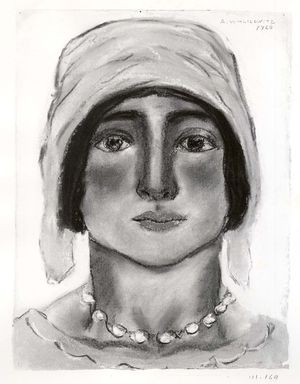 Abraham Walkowitz (American, born Russia, 1878-1965). <em>Woman's Head #11</em>, 1928. Pastel, pencil on gray paper, 11 5/8 x 8 11/16 in. (29.5 x 22.1 cm). Brooklyn Museum, Gift of the artist, 41.169 (Photo: Brooklyn Museum, CUR.41.169.jpg)
