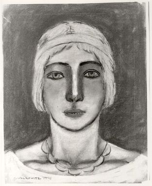 Abraham Walkowitz (American, born Russia, 1878-1965). <em>Woman's Head #12</em>, 1928. Pastel on tan paper, 14 3/16 x 11 3/16 in. (36 x 28.4 cm). Brooklyn Museum, Gift of the artist, 41.170 (Photo: Brooklyn Museum, CUR.41.170.jpg)