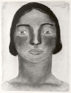 Abraham Walkowitz (American, born Russia, 1878-1965). <em>Woman's Head #15</em>, 1928. Pastel on gray paper, 11 5/8 x 8 11/16 in. (29.5 x 22.1 cm). Brooklyn Museum, Gift of the artist, 41.173 (Photo: Brooklyn Museum, CUR.41.173.jpg)