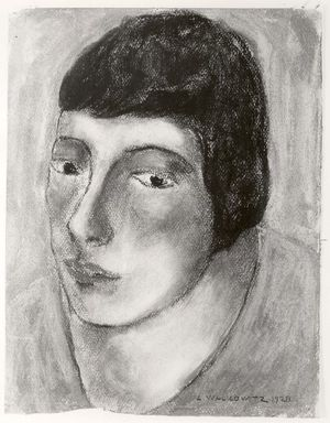 Abraham Walkowitz (American, born Russia, 1878-1965). <em>Woman's Head #16</em>, 1928. Pastel on paper, 12 1/2 x 9 1/2 in. (31.8 x 24.1 cm). Brooklyn Museum, Gift of the artist, 41.174 (Photo: Brooklyn Museum, CUR.41.174.jpg)