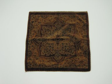 <em>Square Table Cover</em>, ca. 1880. Textile, 26 1/2 x 26 1/2 in. (67.3 x 67.3 cm). Brooklyn Museum, Gift of the Pierrepont Family, 41.400. Creative Commons-BY (Photo: Brooklyn Museum, CUR.41.400.jpg)