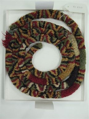 Coastal Wari. <em>Headdress, almost whole or Textile Fragment, undetermined</em>, 600-1000 C.E. Camelid fiber, 13/16 x 75 3/16 in. (2 x 191 cm). Brooklyn Museum, Henry L. Batterman Fund, 41.430. Creative Commons-BY (Photo: Brooklyn Museum, CUR.41.430_view1.jpg)
