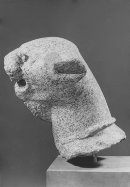 <em>Head of Panther</em>, 1st-3rd century C.E. Granite (?), 14 15/16 x 8 7/16 in. (38 x 21.5 cm). Brooklyn Museum, Charles Edwin Wilbour Fund, 41.468. Creative Commons-BY (Photo: Brooklyn Museum, CUR.41.468_NegC_print_bw.jpg)