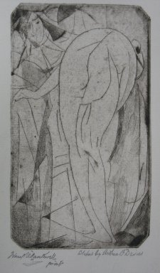 Arthur B. Davies (American, 1862-1928). <em>Bathing Woman and Servant</em>, 1917. Drypoint on zinc on old laid paper, Sheet: 9 1/8 x 7 3/8 in. (23.2 x 18.7 cm). Brooklyn Museum, Dick S. Ramsay Fund, 41.49 (Photo: Brooklyn Museum, CUR.41.49.jpg)
