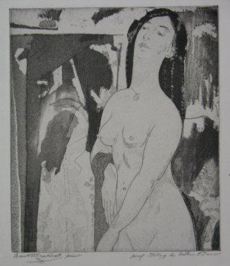 Arthur B. Davies (American, 1862-1928). <em>Doorway to Illusion #2</em>, 1920. Soft ground etching, aquatint on cream-colored laid paper, Sheet: 14 1/4 x 9 5/16 in. (36.2 x 23.7 cm). Brooklyn Museum, Dick S. Ramsay Fund, 41.50 (Photo: Brooklyn Museum, CUR.41.50.jpg)