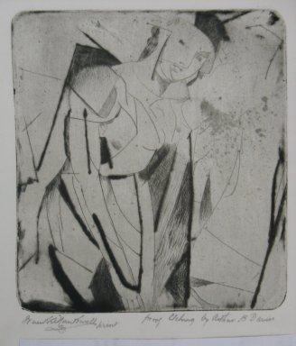 Arthur B. Davies (American, 1862-1928). <em>Figure in Glass</em>, 1926. Drypoint on zinc on wove paper, Sheet: 9 1/2 x 8 15/16 in. (24.1 x 22.7 cm). Brooklyn Museum, Dick S. Ramsay Fund, 41.52. © artist or artist's estate (Photo: Brooklyn Museum, CUR.41.52.jpg)