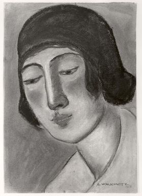 Abraham Walkowitz (American, born Russia, 1878-1965). <em>Woman's Head #21</em>, 1927. Pastel, pencil on tan paper, 12 x 8 5/16 in. (30.5 x 21.1 cm). Brooklyn Museum, Gift of the artist, 41.585 (Photo: Brooklyn Museum, CUR.41.585.jpg)