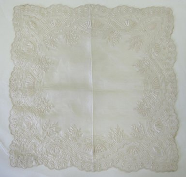 <em>Handkerchief</em>, late 19th century. White silk, 13 x 13 in. (33 x 33 cm). Brooklyn Museum, Gift of Florence Harvey Linder, 41.600. Creative Commons-BY (Photo: Brooklyn Museum, CUR.41.600.jpg)