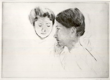 Mary Cassatt (American, 1844-1926). <em>Head in Profile and Smaller Face</em>, ca. 1898. Drypoint on laid paper, Sheet: 12 1/16 x 23 in. (30.6 x 58.4 cm). Brooklyn Museum, Dick S. Ramsay Fund, 41.686 (Photo: Brooklyn Museum, CUR.41.686_view1.jpg)