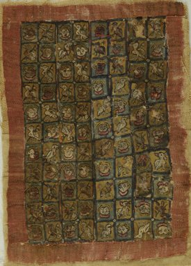 Coptic. <em>Fragment with Figural, Animal, and Botanical Decoration</em>, 6th century C.E. Flax, wool, 11 1/4 x 7 3/4 in. (28.6 x 19.7 cm). Brooklyn Museum, Gift of Pratt Institute, 41.791. Creative Commons-BY (Photo: Brooklyn Museum (in collaboration with Index of Christian Art, Princeton University), CUR.41.791_ICA.jpg)