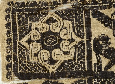 Coptic. <em>Fragment with Animal, Botanical, and Geometric Decoration</em>, 7th-8th century C.E. Flax, wool, 6 x 6 in. (15.2 x 15.2 cm). Brooklyn Museum, Gift of Pratt Institute, 41.793. Creative Commons-BY (Photo: Brooklyn Museum (in collaboration with Index of Christian Art, Princeton University), CUR.41.793_detail01_ICA.jpg)