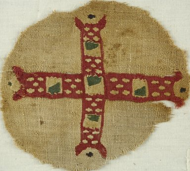 Coptic. <em>Fragment with Cross Decoration</em>, 5th-6th century C.E. Flax, wool, 6 1/2 x 5 5/8 in. (16.5 x 14.3 cm). Brooklyn Museum, Gift of Pratt Institute, 41.798. Creative Commons-BY (Photo: Brooklyn Museum (in collaboration with Index of Christian Art, Princeton University), CUR.41.798_ICA.jpg)