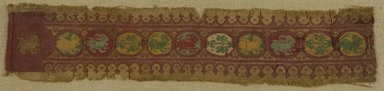 Coptic. <em>Band Fragment with Animal and Botanical Decoration</em>, 7th century C.E. Flax, wool, 3 1/2 x 16 7/8 in. (8.9 x 42.9 cm). Brooklyn Museum, Gift of Pratt Institute, 41.799. Creative Commons-BY (Photo: Brooklyn Museum (in collaboration with Index of Christian Art, Princeton University), CUR.41.799_ICA.jpg)