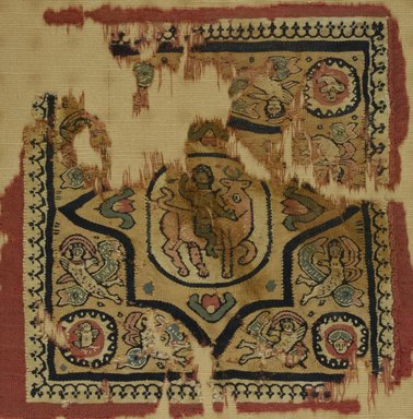 Coptic. <em>Square Textile with Europa and the Bull</em>, 8th-9th century C.E. Wool, 11 x 11 in. (27.9 x 27.9 cm). Brooklyn Museum, Gift of Pratt Institute, 41.800. Creative Commons-BY (Photo: Brooklyn Museum (in collaboration with Index of Christian Art, Princeton University), CUR.41.800_ICA.jpg)