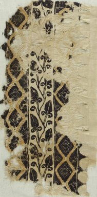 Coptic. <em>Band Fragment with Botanical and Geometric Decoration</em>, 4th-5th century C.E. Flax, wool, 19 3/4 x 10 in. (50.2 x 25.4 cm). Brooklyn Museum, Gift of Pratt Institute, 41.801. Creative Commons-BY (Photo: Brooklyn Museum (in collaboration with Index of Christian Art, Princeton University), CUR.41.801_ICA.jpg)