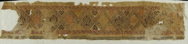 Coptic. <em>Band Fragment with Lozenge Decoration</em>, 5th-6th century C.E. Flax, wool, 30 3/4 x 6 1/2 in. (78.1 x 16.5 cm). Brooklyn Museum, Gift of Pratt Institute, 41.804. Creative Commons-BY (Photo: Brooklyn Museum (in collaboration with Index of Christian Art, Princeton University), CUR.41.804_ICA.jpg)