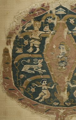 Coptic. <em>Fragment with Figural, Animal, and Botanical Decoration</em>, 7th-8th century C.E. Flax, wool, 10 x 8 3/4 in. (25.4 x 22.2 cm). Brooklyn Museum, Gift of Pratt Institute, 41.807. Creative Commons-BY (Photo: Brooklyn Museum (in collaboration with Index of Christian Art, Princeton University), CUR.41.807_detail01_ICA.jpg)