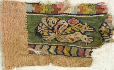 Coptic. <em>Band Fragment with Figural and Botanical Decoration</em>, 6th-7th century C.E. Wool, 4 1/2 x 2 1/2 in. (11.4 x 6.4 cm). Brooklyn Museum, Gift of Pratt Institute, 41.854. Creative Commons-BY (Photo: Brooklyn Museum (in collaboration with Index of Christian Art, Princeton University), CUR.41.854_ICA.jpg)