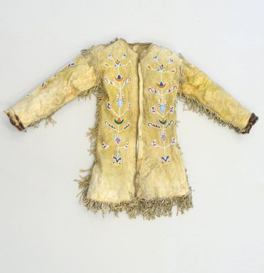 Red River Metis. <em>Man's Shirt Cut in European Style</em>, early 20th century. Buckskin, pigment, fur, colored glass, gilt and silver, cotton cloth, pigment, at shoulders: 35 1/2 x 20 1/2 in. (90.2 x 52.1 cm). Brooklyn Museum, By exchange, 41.866. Creative Commons-BY (Photo: Brooklyn Museum, CUR.41.866_view1.jpg)