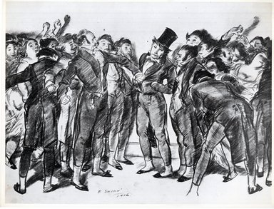 Everett Shinn (American, 1876-1953). <em>They Were All Very Much Excited Against Poor Balloquat</em>, 1906. Conté crayon on paper, Sheet: 16 3/8 x 21 13/16 in. (41.6 x 55.4 cm). Brooklyn Museum, Dick S. Ramsay Fund, 42.100 (Photo: Brooklyn Museum, CUR.42.100.jpg)
