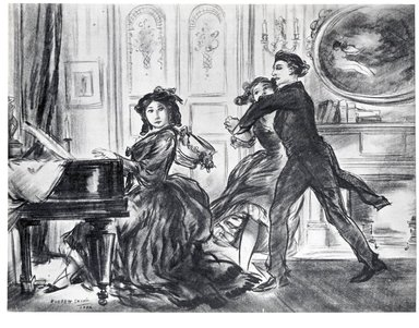 Everett Shinn (American, 1876-1953). <em>Frederique ... Sat Down to the Piano and Played A Polka</em>, 1906. Conté crayon on paper, Sheet: 15 1/4 x 20 in. (38.7 x 50.8 cm). Brooklyn Museum, Dick S. Ramsay Fund, 42.105 (Photo: Brooklyn Museum, CUR.42.105.jpg)