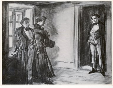 Everett Shinn (American, 1876-1953). <em>He Looked At Us for Some Moments in Astonishment</em>, 1906. Conté crayon with touches of white on paper, Sheet: 15 5/8 x 20 11/16 in. (39.7 x 52.5 cm). Brooklyn Museum, Dick S. Ramsay Fund, 42.107 (Photo: Brooklyn Museum, CUR.42.107.jpg)
