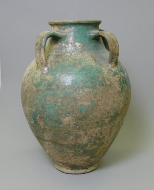 <em>Large Jar</em>, 12th-13th century. Glazed pottery, 14 13/16 x 10 3/8 in. (37.6 x 26.4 cm). Brooklyn Museum, Gift of Mary T. Cockcroft, 42.109.1. Creative Commons-BY (Photo: Brooklyn Museum, CUR.42.109.1_view1.jpg)